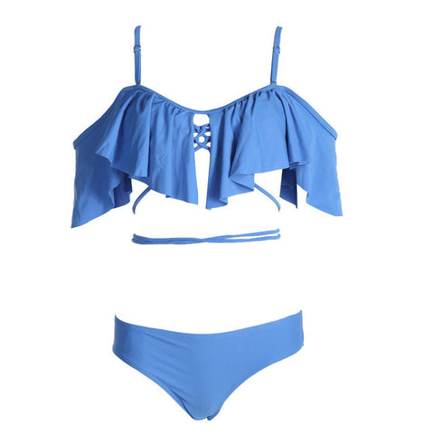 Women Sexy Ruffled Push-up Padded Swimsuit Blue