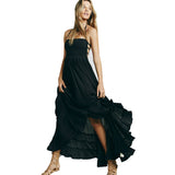 Women's Summer Sexy Strapless Long Party Dress Black