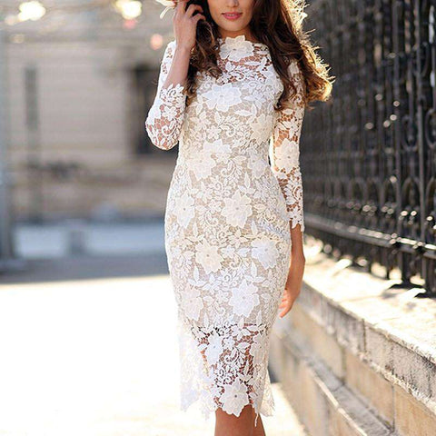 Vintage White Floral Lace Bodycon Zip Back Slim Midi Dress Boutique