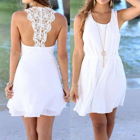 Lace Crochet Backless Sleeveless O-neck Beach Mini Dress Black White