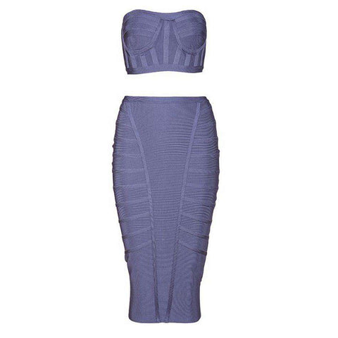 Bandage Sleeveless Strapless Two Piece Set Party Bodycon Dress Purple