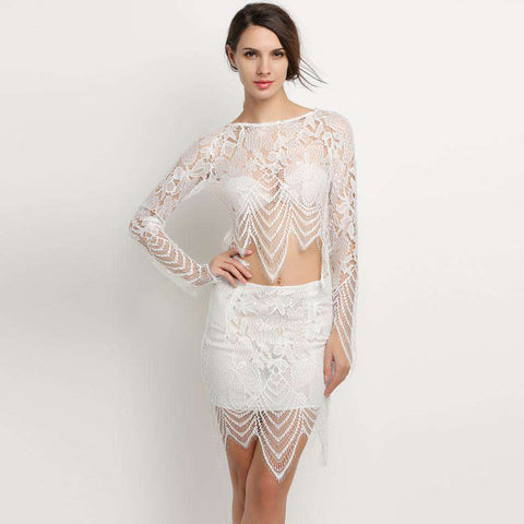 Casual Hollow Out Short White Lace Beach Two Pieces Dress White