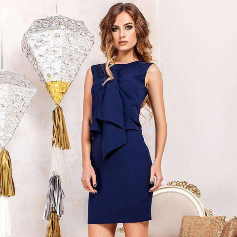 Office Two Pieces O-Neck Sleeveless Ruffles Bodycon Slim Dress Blue