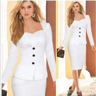 Long-Sleeved Button Decoration Self-Cultivation Pencil Dress White
