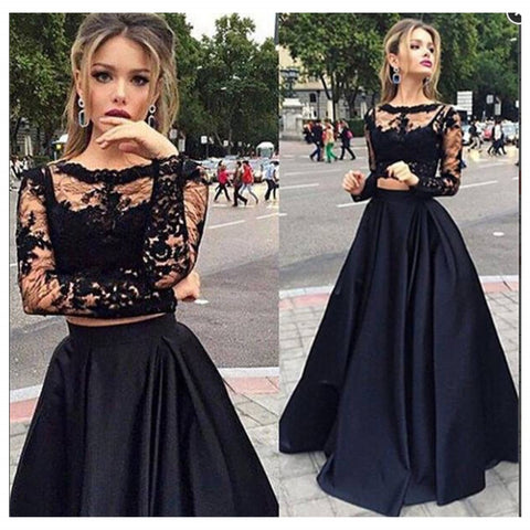 Two Pieces Long Sleeves Evening Dress Black