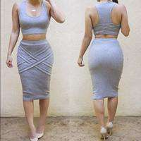 Two Piece Party Bodycon Sleeveless Casual Bandage Dress Blue