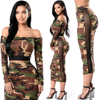 Two Piece Strapless Camouflage Print Long Sleeve Mesh Patchwork Dress