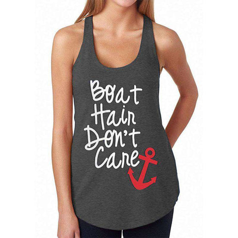 Boat Hair Dont Care Letter Printed O-Neck Tank Top Black