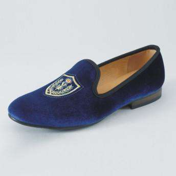Velvet Loafers Slip-On Party Dress Shoes Blue