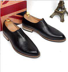 Cow Leather Solid Breathable Pointed Toe Slip-On Loafers Shoes