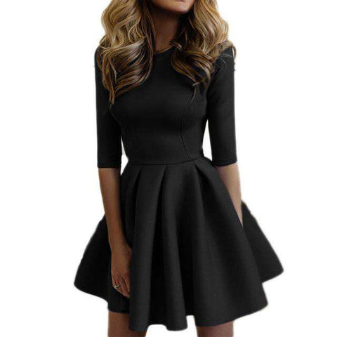 3/4 Sleeve A Line Party Mini Tube Dress Boutique Online Black