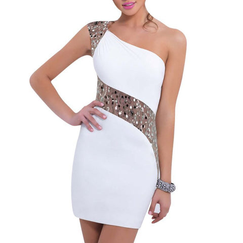 Sleeveless Bodycon Mini Cocktail Sequins Party Dress White