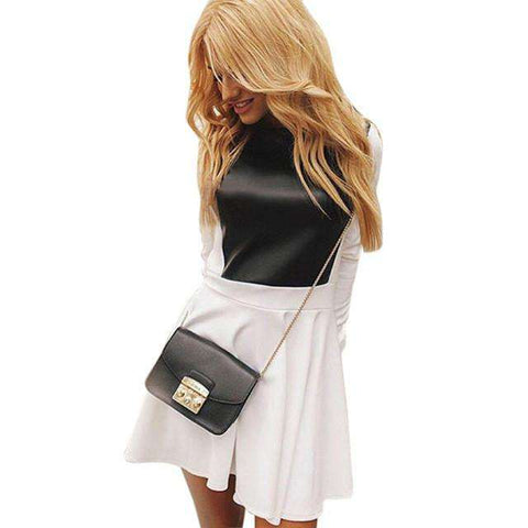 New Hot Long Sleeve Party Cocktail Mini Flared Skater Dress Black White