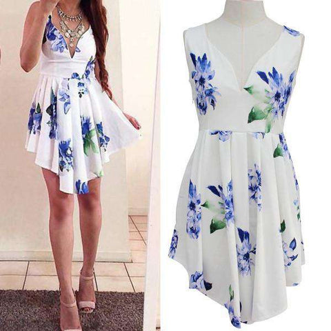 V-neck Mini Irregual Hem Cocktail Floral Printed Sundress White