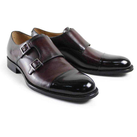 Men's Cow Leather Round Toe Monk Straps Formal Dress Shoes Black