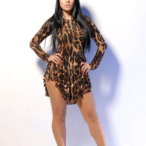 Leopard Print Slit Long Sleeve Slim Party Dress Brown