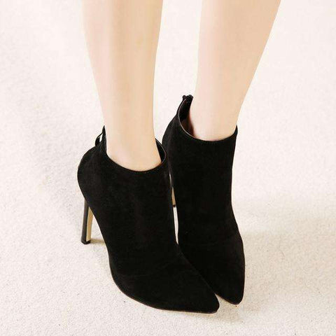 Black Women Back Zipper Pointed Toe High Heel Ankle Boots