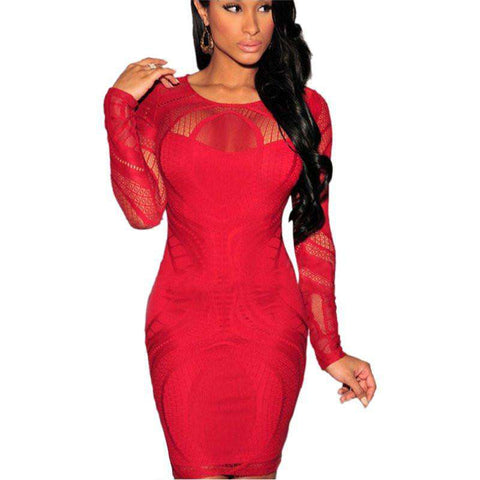 d06478974fa Bandage Bodycon Cocktail Party Long Sleeve Mini Dress Red ...