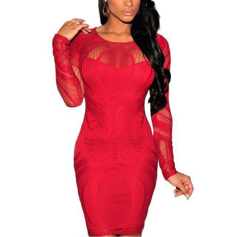 Bandage Bodycon Cocktail Party Long Sleeve Mini Dress Red