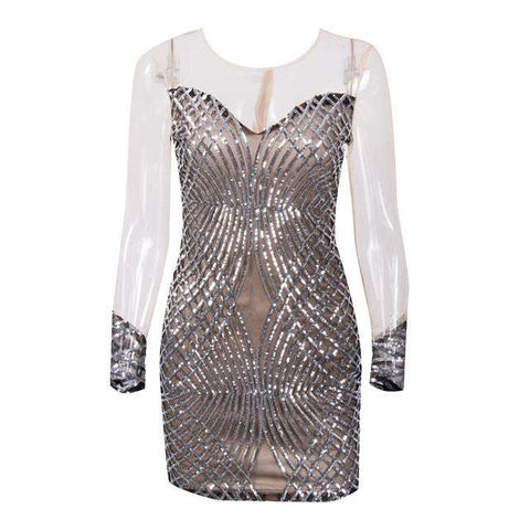 Sexy Slim Bodycon Mesh Ladies Cocktail Party Bling Dress Silver