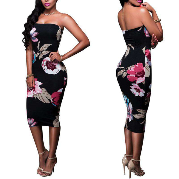 Off The Shoulder Floral Printed Party Bodycon Dress Black