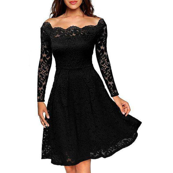 Boat Neck Cocktail Swing Long Sleeve Floral Knee Length Formal Dress