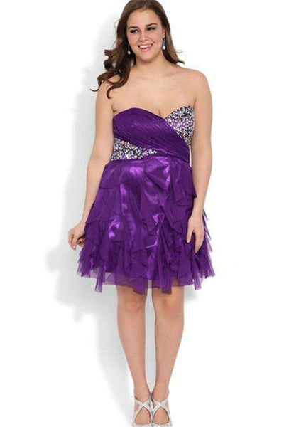 A Line Beaded Ruffles Cocktail Knee Length Chiffon Short Gowns Purple