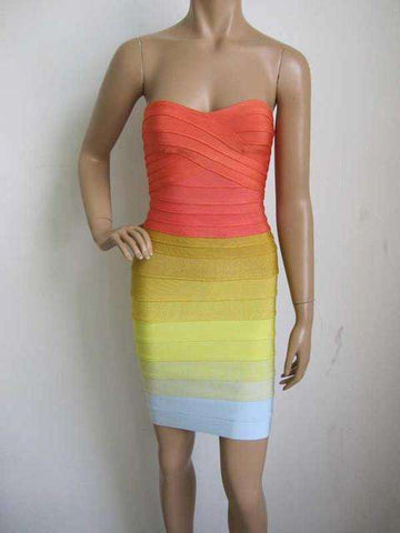 Gradient Sweet and Sexy Tight Bandage Rainbow Dress