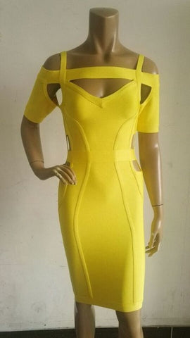 Short Sleeves Fashionable Celebrity Cocktail Party Bandage Dress Yellow