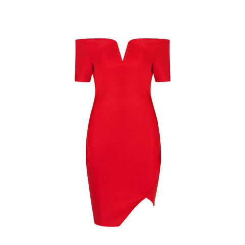 Short Sleeves Tight Slash Neck Cocktail Party Bandage Dress Red