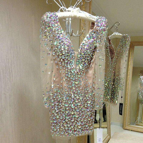 Long Sleeve Sexy Shining Mini Short Beaded V-Neck Cocktail Party Dress Silver
