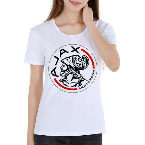 Ajax Letter Print Women's T-shirt Short Sleeve White