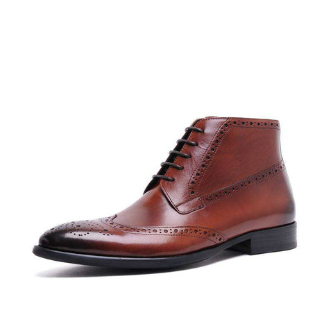 Men's Ankle Genuine Leather Lace Up Round Toe Boots Browm