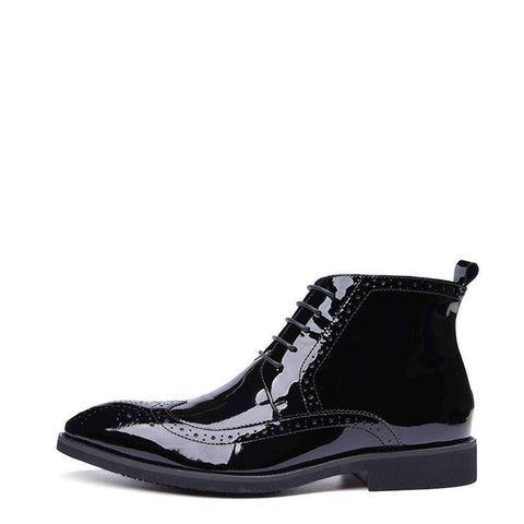 Men's Patent Leather Lace Up Pointed Toe Boots