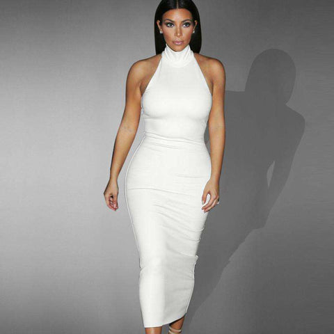 Formal Office Sleeveless Casual Party Fitted Bodycon Pencil Dress White