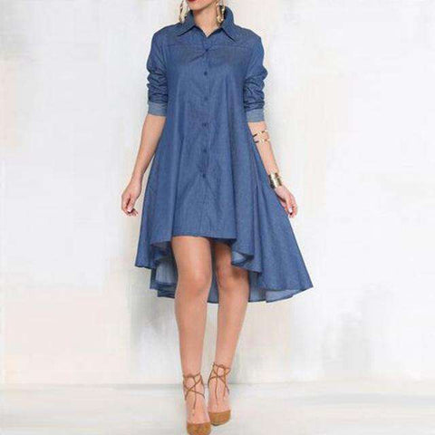 Long Sleeve Turn Down Collar Solid Button Asymmetrical Dress Denim
