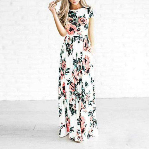 Boho Style Short Sleeve Beach Floral Print Vintage Cotton Maxi Dress White