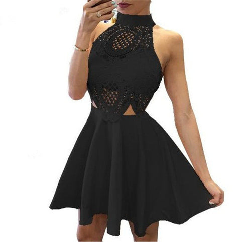 Lace O Neck Solid Mini Sexy Club Party Bodycon Dress Black