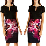 Bodycon Knee Length Short Sleeve Floral Print Casual Party Sheath Dress Black