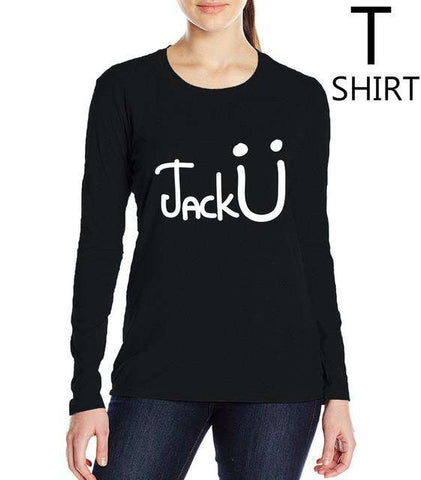 Jack U Kawaii Letters Print T Shirt Long Sleeve Women Black