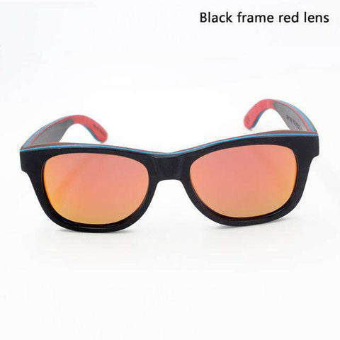 Men Skateboard Wooden Frame Polarized Lens Sunglasses