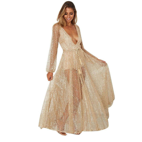 Sequin Mesh Plunge Deep V Neck Long Sleeve Party Maxi Dress Gold