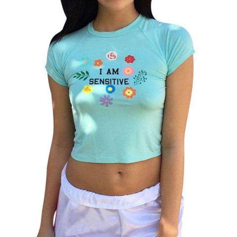 Floral Letter Printing Women's Short Sexy O Neck T-shirt Crop Top