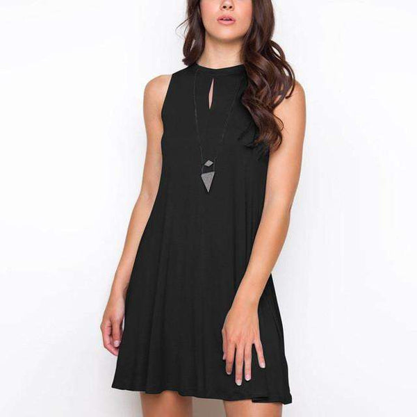 O-neck Sleeveless Casual Solid Mini Party Dresses Black