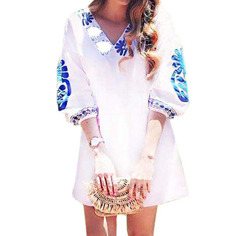 Deep V Neck Floral Printed 3/4 Sleeve Shirt Dress White