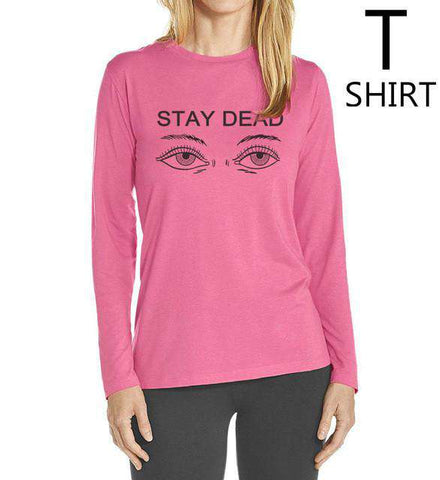 Cotton O-Neck Women Long Sleeve Stay Dead Letter Print T Shirt Red