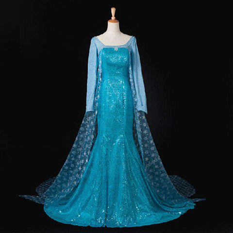 Elsa Costume Adult Princess Cosplay Halloween Party Formal Dress Blue