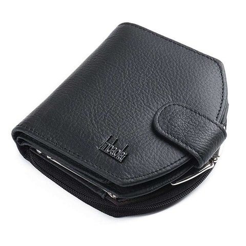 Bi-fold Zipper Business Wallet for ID and Credit Card in Leather