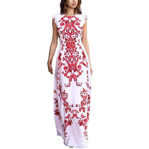 Maxi Vintage Elegant Printed Sleeveless Formal Party Dress White