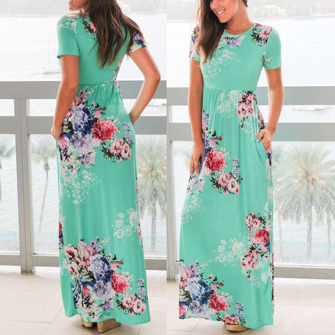 High Waist Vintage Formal Party Short Sleeve Floral Printed Maxi Dress Turquoise